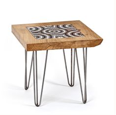Cedar & Australian Aboriginal ceramic tile Table, hair pin legs. – The Fine Wooden Article Company  thefinewoodenarticlecompany.com  Hand-crafted hair-pin leg Coffee Table made from sustainably sourced Cedar of Lebanon & Australian Aboriginal Art ceramic tiles by Bay Gallery Home.