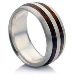 mens wedding band platinum with oak inlay - Mens Platinum Wedding Rings