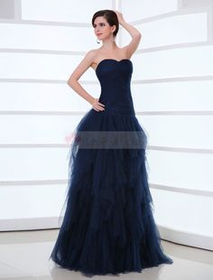 Wishesbridal Navy Blue Pleated Sweetheart Floor Length A Line Evening Prom Dress Affordable Evening Gowns, Affordable Prom Dresses, Unique Prom Dresses, Mermaid Prom Dresses, Wedding Dresses, Evening Dress 2015, Evening Dresses Online, Navy Blue Prom Dresses, Strapless Dress Formal