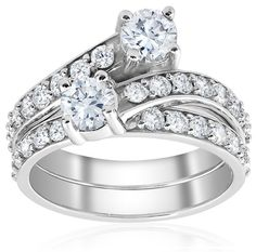 ADDITIONAL INFORMATION Product Details Item # ENGS00326.5 Width: 3 mm Metal: 10k White Gold Diamond Carat: Diamond Quantity: 33 Diamond Setting: Common Prong  2ct Diamond Forever Us 2 Stone Solitaire Engagement Ring Wedding Set White Gold  Womens ring features 3/8ct center stones and 31 round cut accent diamonds. All diamonds are set in solid 10k white gold. Matching ring is included.