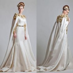 Wholesale Mermaid Wedding Dresses - Buy 2014 Zuhair Murad Dresses Vintage Mermaid Wedding Dress Long Shoulder Sash with Gold Embrodery Eveni...