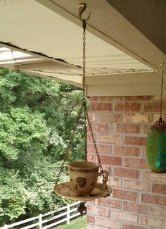 Teacup Birdfeeder - HOME SWEET HOME  - Knitting, sewing, crochet, tutorials, children crafts, jewlery, needlework, swaps, papercrafts, cooking and so much more on Craftster.org