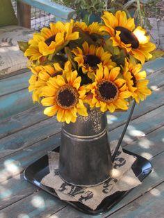 Sunflower Arrangement- Summer Arrangement- Watering Can Centerpiece- Sunflower Centerpiece- Floral Centerpiece- Sunflower Decor-Summer Decor
