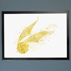 Harry Potter Golden Snitch Seeker Watercolor by WatercolorFontaine