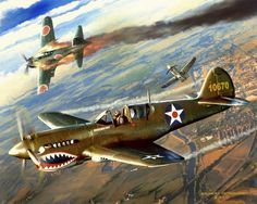 """See Ya!!"" by Robert McSpaddenLubbock, TX // Oil on acrylic background on stretched linen.  Fictional depiction of a P-40 Warhawk vs. Japanese Mitsubishi A6M5 Zero over China during World War 2. // Imagekind.com -- Buy stunning, museum-quality fine art prints, framed prints, and canvas prints directly from independent working artists and photographers."