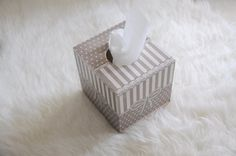 Tissue box grey with a bow  Handmade box with decoupage technique.  Its a fun handmade wooden tissue box with a grey pattern napkin. its sealed
