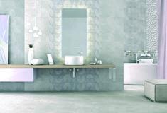 Kolekcja płytek Argos. Pastelowe szarości i geometryczne wzory tworzą razem klimatyczne wnętrze .  bathroom I Lazienka I grey I interior I design I wnetrze I plytki I