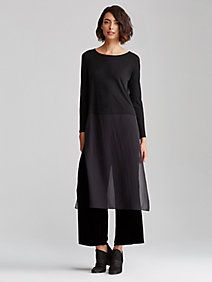 STYLE:  The silk-blocked dress--dramatic, with long, sheer panels and deep side slits. Includes a Stretch Silk Jersey slip with adjustable straps. EILEEN FISHER