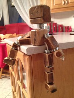 Scrap wood robot decoration for kids room