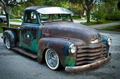 rat rod trucks and cars Vintage Pickup Trucks, Classic Pickup Trucks, Chevy Pickup Trucks, Gm Trucks, Rat Rod Pickup, Chevy 3100, Chevy Pickups, Hot Rod Trucks, Cool Trucks