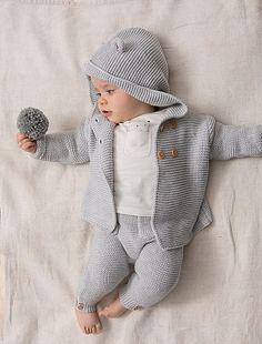 Legging point mousse en coton bio gris clair Bébé fille - Kiabi Tricot 83da406aa84