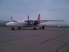 Kyrgyzstan Air Antonov AN-24 prepares for flight QH6 to Bishkek, Jalal-Abad Airport, Kyrgyzstan,