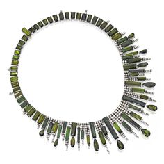 14 KARAT WHITE GOLD, TOURMALINE AND DIAMOND NECKLACE Of geometric design, the front supporting fringes, set with emerald, rectangular and pear-shaped tourmalines weighing 140.95 carats, accented by round diamonds weighing 11.37 carats, length 16¾ inches.