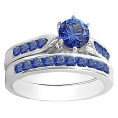 Elora 14k Gold 1ct TW Round Blue Sapphire Engagement Ring with Matching Band (Size 6.5, White Gold), Women's