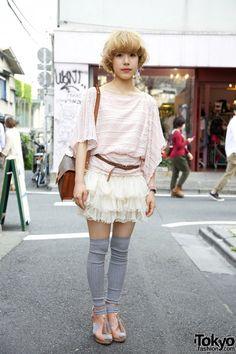 Thigh-high socks + open toe sandals + flowy shirt + ruffled skirt