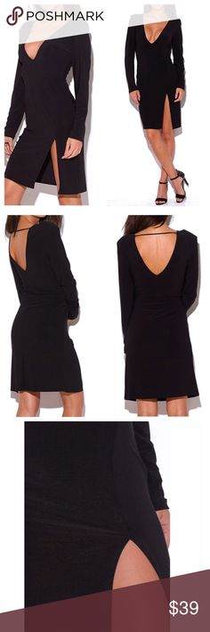 ❣COMING SOON - BLACK DEEP V-NECK MIDI DRESS MADE IN THE USA - This classy celeb favorite side slit V-neck long sleeve midi is a timeless piece that's essential to every wardrobe! Elegant midi length plus the perfect V-neck back line makes it sophisticated and flirty at the same time. Matte fabric, padded shoulders, generous cut for a super comfy fit. Unlined. 96% polyester, 4% spandex. 1X-2X-3X Price firm, no trades. Dresses Midi