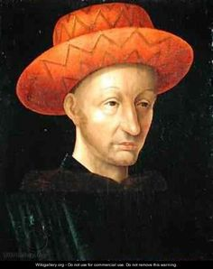 Portrait of Charles VII 1403-61 - Jean Fouquet (French, 1425-1480)