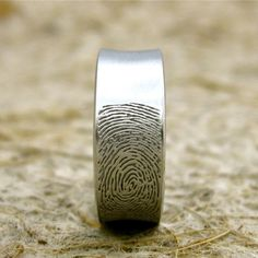 Custom Made Concave Finger Print Wedding Ring in 14K White Gold with Matte Finish Size 8.5/8mm