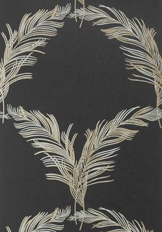 PLUMES, Metallic Pewter on Black, AT7928, Collection Watermark from Anna French