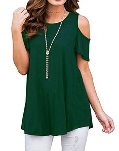 165ab77ea19b3 UniDear Womens Casual Round Neck Cold Shoulder Short Sleeve Shirts Tunic  Tops for Leggings Dark Green XL    To view further for this item