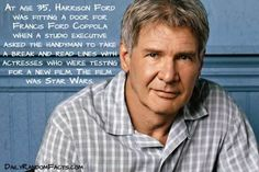Harrison Ford -- Harrison Ford did in fact do a lot of bit and background work prior to being cast in Star Wars. But was working as a carpenter when cast in the role of Han Solo. Star Wars went on to be the highest grossing film of all time.