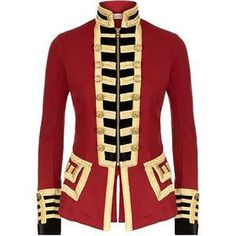 Ralph Lauren Denim Supply Women Military Army Officer Band Coat Jacket Red M& Suit Fashion, Womens Fashion, Style Fashion, Luxury Fashion, Band Jacket, Knit Jacket, Military Style Jackets, Military Jacket Women, Military Jackets