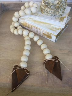 """Wood Decor Bead Garland with Rusty Tin Puffy Hearts, Home Decor, Wood Bead Vase Garland, Natural Garland, Farmhouse Decor """"Double the Love"""" Wood Bead Garland, Beaded Garland, New Crafts, Arts And Crafts, Decorative Beads, Wooden Decor, Diy Mask, Wooden Beads, Dollar Stores"""
