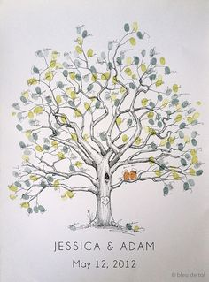 Fingerprint Tree Wedding Guest Book Alternative, Original Hand-drawn Large…
