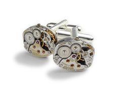 Steampunk Cufflinks Steampunk Jewelry vintage watch movement Rare Longines wedding anniversary Groom Gift silver cuff links men jewelry 2013, $95.00 #steampunkcufflinks #steampunkjewelry #weddingjewelry