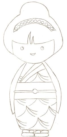 kokeshi, coloriage ------------------ Ateliers  Editions EM tel 06.11.86.92.64