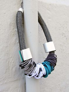 Christina Brampti Chunky Statement Necklace in 3 Colours Teal And Grey, Blue, Adventure Outfit, Silver Hoops, 2 Colours, Hair Band, Seasons, Beautiful, Jewelry