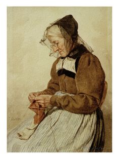 (Old Woman Knitting)  A. ANKER