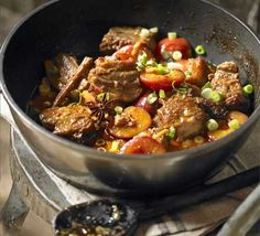 Braised pork with plums  Meltingly tender meat in a spicy, fruity sauce, this meal is guaranteed to impress