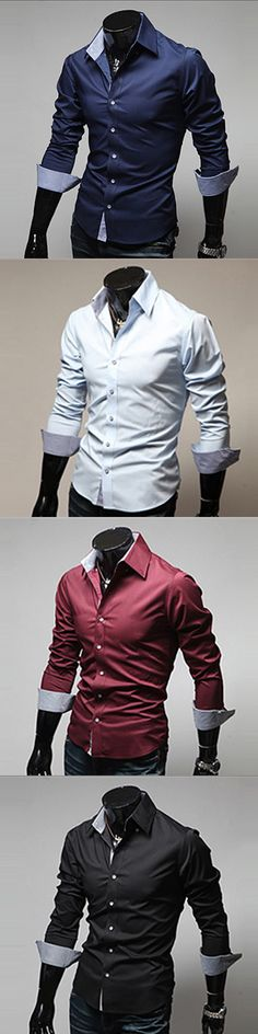 Men's Long Sleeve Cotton / Polyester Casual / Work / Formal Solid Shirt