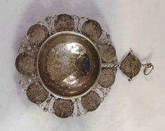 1680s Austrian Coin Decorated Antique Silver Tea Strainer