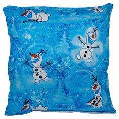 Disney Frozen Olaf Reversible 11 x 10-inch Throw Pillow (Frozen Olaf Blue and White), Size Specialty (Cotton, Graphic Print)