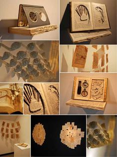 An altered book installation created with found books.