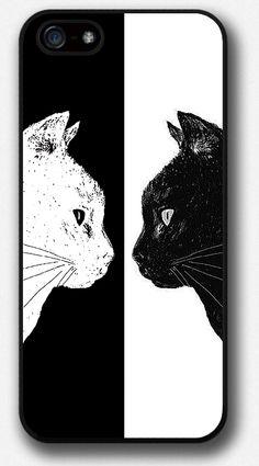 iPhone 4 4S 5 5S 5C case, Black White Cat