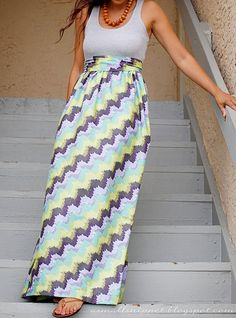 The Crafted Sparrow: 10 Great Summer DIY Maxi Dress & Skirt Tutorials - Darling Stuff Inexpensive Dresses, Simple Dresses, Diy Dress, Dress Skirt, Maxi Dresses, Tank Dress, Maxi Skirts, Dress Ideas, Long Dresses