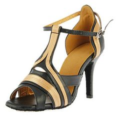 Customized Women's Satin And Leatherette Upper Dance Shoes