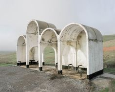 Bus stops in the Soviet Union – Christopher Herwig Are you accustomed to boring and monotonous bus stops? Photographer Christopher Herwig, brings us photos of bus stops, which he took in the former Soviet Union. Bus Stop Design, Pavillion, Bus Shelters, Grand Format, Bus Station, Soviet Union, Kazakhstan, Brutalist, Abandoned