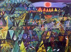 Dahlov Ipcar, Harlequin Jungle (pre-macular), © Estate of Dahlov Ipcar. Courtesy of Rachel Walls Fine Art. Colorful Paintings, Animals Of The World, Online Gallery, Lovers Art, New Art, Art Museum, Illustrators, Art For Kids, Art Projects
