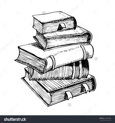 vintage book stack sketch - Google Search | tattoo ...