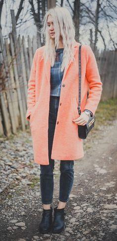 Neon peach coat