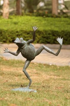 This whimsical dancing frog fountain is sure to add a bit of charm to your pool or garden. Cast in bronze, this high quality lost wax cast sculpture will last for generations to come. The water spouts from his mouth in a small stream when hooked up to a pu