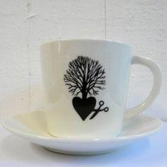 Coffee mug prints designed by Donker Zwart and hand silkscreen printed.
