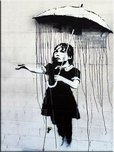 Banksy is an England-based graffiti artist. His satirical street art and subversive epigrams combine irreverent dark humor with graffiti done in a distinctive
