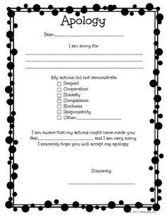 Behavior Reflection & Apology Letter