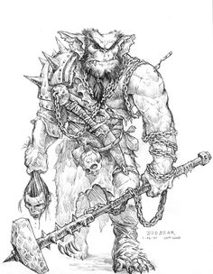 for the fork stuck in his shoulder Bugbear Sketch by Sam Wood Advanced Dungeons And Dragons, Dungeons And Dragons Characters, Dnd Characters, Fantasy Characters, Character Concept, Character Art, Character Design, Character Ideas, Fantasy Races