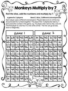 Multiplication Free NO PREP Multiplication Games by Games 4 Learning | Teachers Pay Teachers